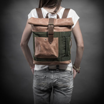Canvas and leather Backpack Original Collection by Kruk Garage Roll top backpack Made of British army duffle bag 70's Women's backpack