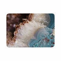 "Sylvia Cook ""Quartz Waves"" Blue Brown Memory Foam Bath Mat"