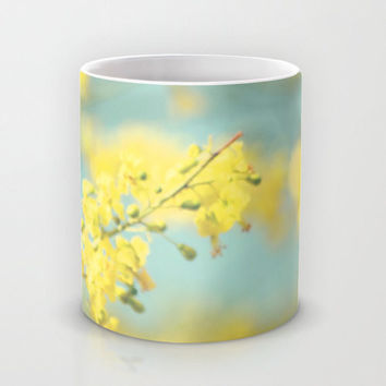 Art Coffee Cup Mug Sunny Blooms 2 fine art Modern Flower photography home decor bright yellow bokeh circle pastel blue geometric abstract