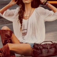 Free People FP ONE City Peasant Blouse at Free People Clothing Boutique