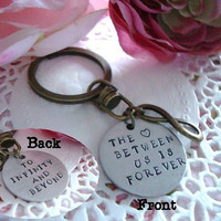 The Love Between Us Is Forever Hand Stamped Keychain Double Side Stamped To Infinity And Beyond
