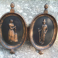 Vintage Dart Industries Pilgrim Wall Plaque set of 2/ Retro Home Decor/ Rustic Bronze and black resin wall hanging/ 1960's/ Colonial people