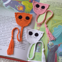 Crochet bookmark Cat crocheted bookmarks Kids animal bookmark Back to school Book lover gift Kids bookmark planner reading accessories