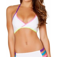 White Multicolor Rave String Top