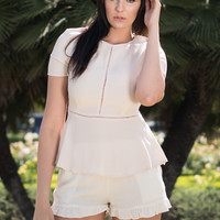 Natural Ivory Ruffle Short