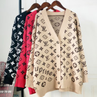 Louis Vuitton New LV  Loose Letter Print V-Neck Sweater Women Long Cardigan Sweater Coat Three colors