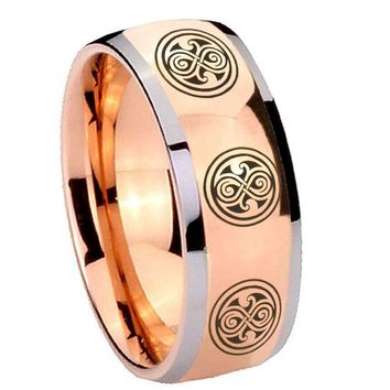 8MM Rose Gold Dome Multiple Doctor Who 2 Tone Tungsten Carbide Laser Engraved Ring