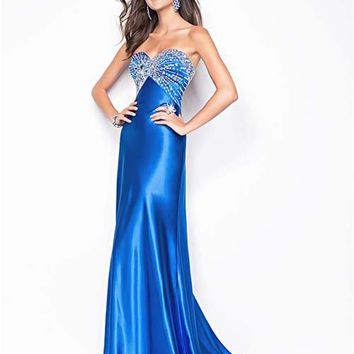 Sapphire Charmeuse Strapless Sweetheart Beaded Prom Dress - Unique Vintage - Cocktail, Pinup, Holiday & Prom Dresses.