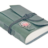 Forest Green Faux Leather Journal with Cameo Bookmark