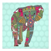 painted elephant aqua dot print
