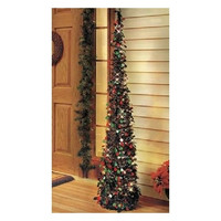 Artificial Prelit Christmas Tree 5 Ft Slim Sequins Wireless Timer
