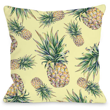 """Summer Pineapple Print"" Indoor Throw Pillow by OneBellaCasa, 16""x16"""