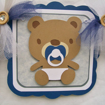 Teddy bear baby shower banner, blue and white, its a boy, -READY TO SHIP