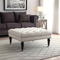 Linon Isabelle Natural Square Tufted Ottoman