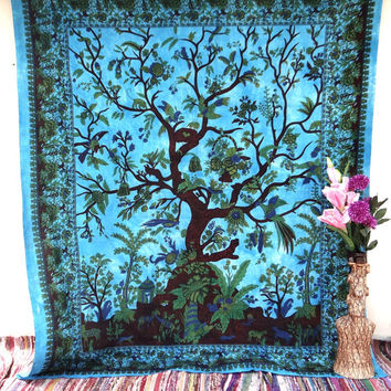Blue Tree of life Tapestry Wall Hanging Mandala Hippie