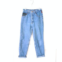 high waisted boyfriend jeans / 80s tapered KILIM southwestern color block mom jeans
