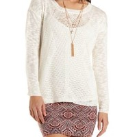 Slub Knit Pointelle Pullover Sweater by Charlotte Russe