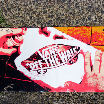 VANS Skateboarding memorabilia vinyl banner, 2ft x 3ft, skateboard, shoes, California, collectible, punk rock, graffiti, stencil