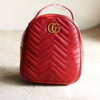 GUCCI Women Men Casual School Bag PU G Logo Leather Metal Backpack B-MYJSY-BB Red