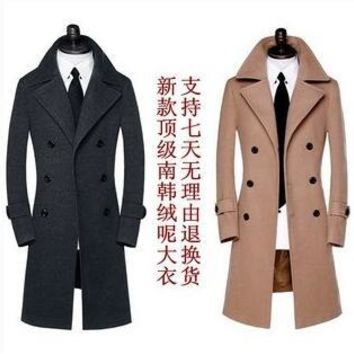 Black teenage Double-breasted long wool coat men 2017 trench jackets mens wool coats overcoats dress winter plus size S - 9XL