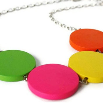 Neon Necklace in Rainbow Colors. Wood Necklace. Bright Colors. Candy Inspired. Perfect Summer Fashion. Ready to ship.