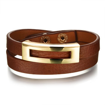 European and American lady's natural wrist strap Double layers surrounding adjustable leather bracelet