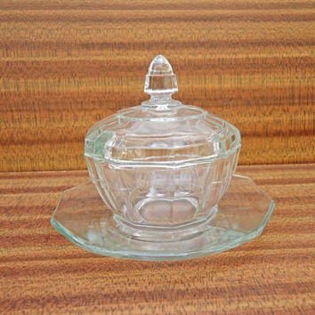 Vintage Clear Pressed Glass Sugar/Jam Pot /Bowl With Lid and Saucer, UK Seller