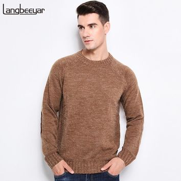 Winter Clothing Pullover Mens Sweaters O-Neck Thick Slim Fit Solid Color Sweaters For Men