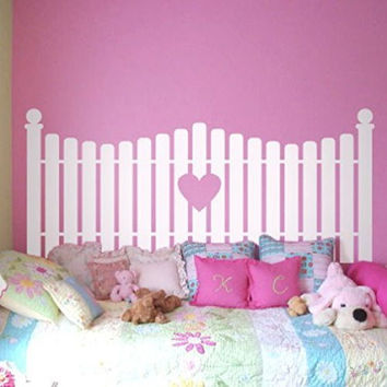 Picket Fence with Heart Cutout Silhouette Faux Headboard Vinyl Wall Decal Sticker Graphic