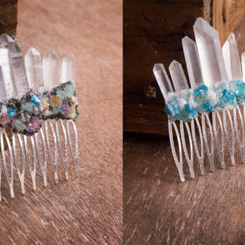 QUARTZ CROWN - Hair Piece - Decorative Comb, Bridal Hair, Prom Accessories, Wedding Jewelry, Bridal Crown, Raw Crystal Quartz, Raw Gemstone