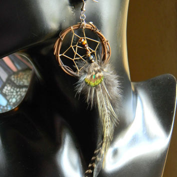 Midnight Mist Dream Catcher Earrings in The Native Inspired Tribal Boho Hippie Hipster Style