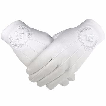 Masonic Regalia 100% Cotton Gloves Square Compass and G - White