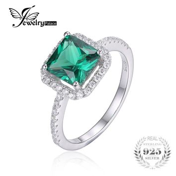 JewelryPalace Square 1.8ct Created Emerald 925 Sterling Silver Ring Fine Jewelry for Women New Brand  Fashion Ring