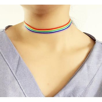 2018 Fashion Colorful Rainbow Choker Necklace Clavicle Chain Ribbon For Men Women Lesbian Bisexual Lgbt Gay Pride Simple Jewelry