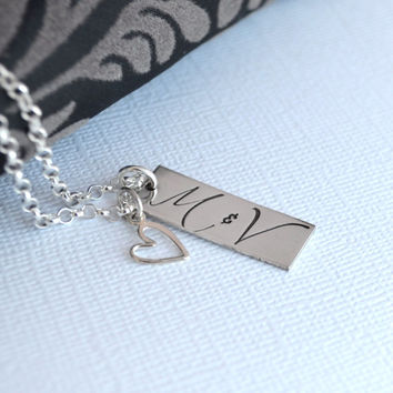 Personalized Couple Initial Necklace with Heart Charm- Handstamped Initial Necklace- Wedding Necklace