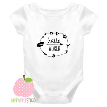 Hello World Baby Onesuit, hello world baby, hello world onsie, hello world Onesuit unisex, baby girl gift, baby boy gift, arrows, modern,