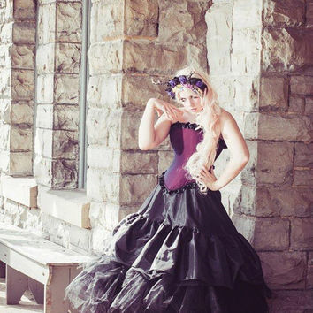 Alternative Gothic Wedding Gown Beauty of the Night Purple-READY TO SHIP Medium