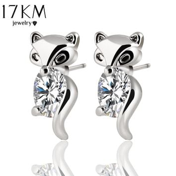 17KM Classic Animal Fox Stud Earrings Alloy Silver Color Crystal Earring Fashion Gold Color Jewelry Brand Design Party For Women