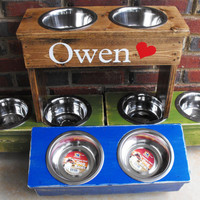 Dog Bowl Raised Personalized Medium
