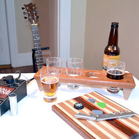 Handmade Wood Mini Brew Beer Sampler and Cutting Board 4 - The Itty Bitty Rack - Mahogany & Black Walnut