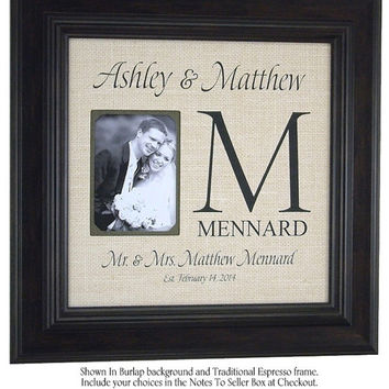 Burlap Monogram Art, Wedding Monogram , Wedding Frame, Personalized Picture Frame, Anniversary, Monogram on Burlap, Important Dates, 16 X 16