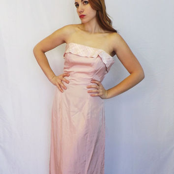 Vintage 90s Strapless Pink Plaid Formal Bridesmaid Maxi Dress Party Panoply Size 9/ 10Prom Gown Medium Princess Godess Romantic Fairy Queen