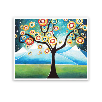 Landscape Print, Tree of Life Wall Art Woodland Decor, Whimsical Home Decor, Signed 10.5x12.5