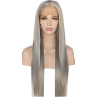 Rosaldava- Silver Grey Heat Resistant Straight Synthetic Lace Front Wig