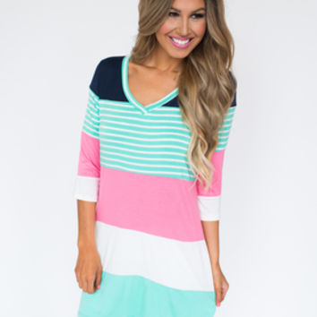Mint/Navy/Pink Color Block Tunic