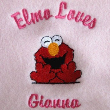 Personalized Elmo Fleece Thow Blanket with Strap Girl or Boy Embroidered