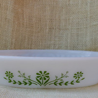 Green and white Glasbake divided dish // Vintage casserole dish // green daisy casserole