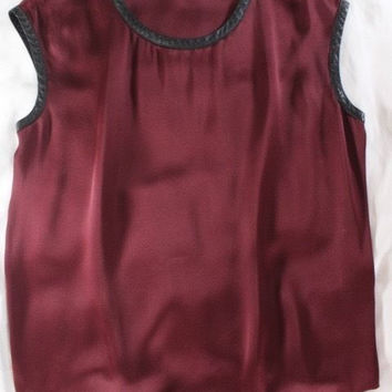 "~~~ EDGY-GLAM! ~~~ GORGEOUS BURGUNDY ""LAMBSKIN TRIM"" LOUCHE BLOUSE/TOP ~~~ S/M"