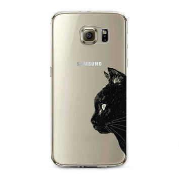 Transparent Soft Black Various Cat Samsung Galaxy Phone Case