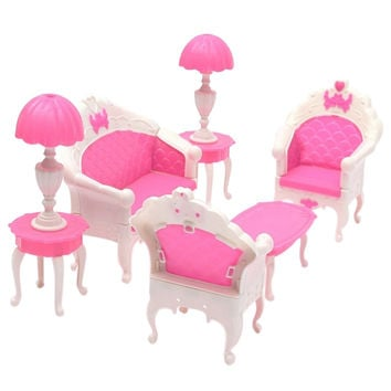 6pcs/set New Cute Dollhouse For Barbie Doll Furniture Playset Living Room Parlour Sofa Chair Table Lamp Free Shipping